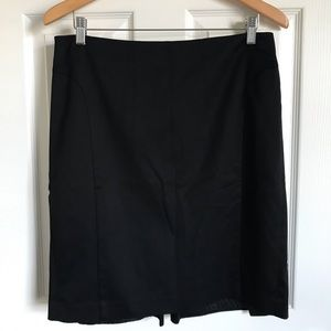 Black, lined pencil skirt w/back pleated fishtail